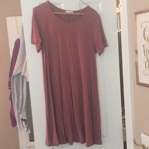 Soft maroon T-shirt dress